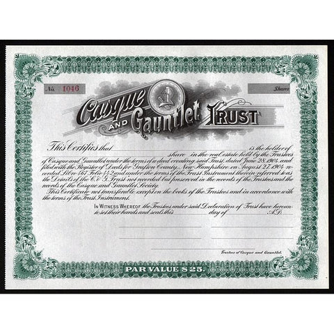Casque and Gauntlet Trust Stock Certificate