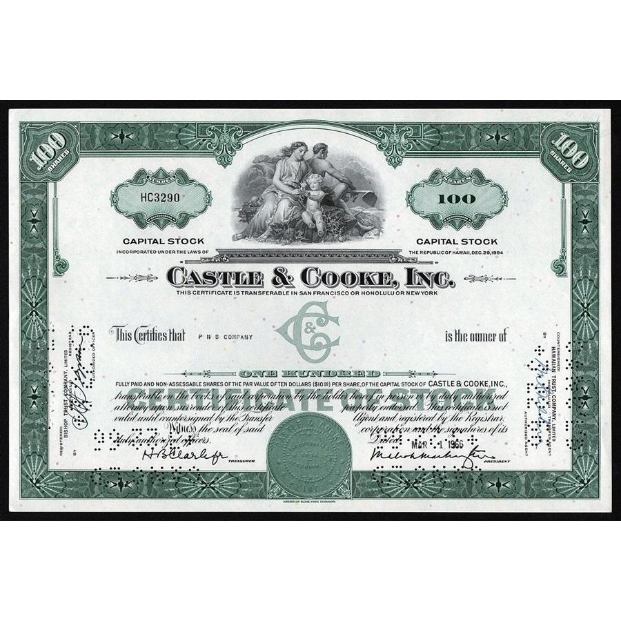 Castle & Cooke, Inc. (Hawaii) Stock Certificate