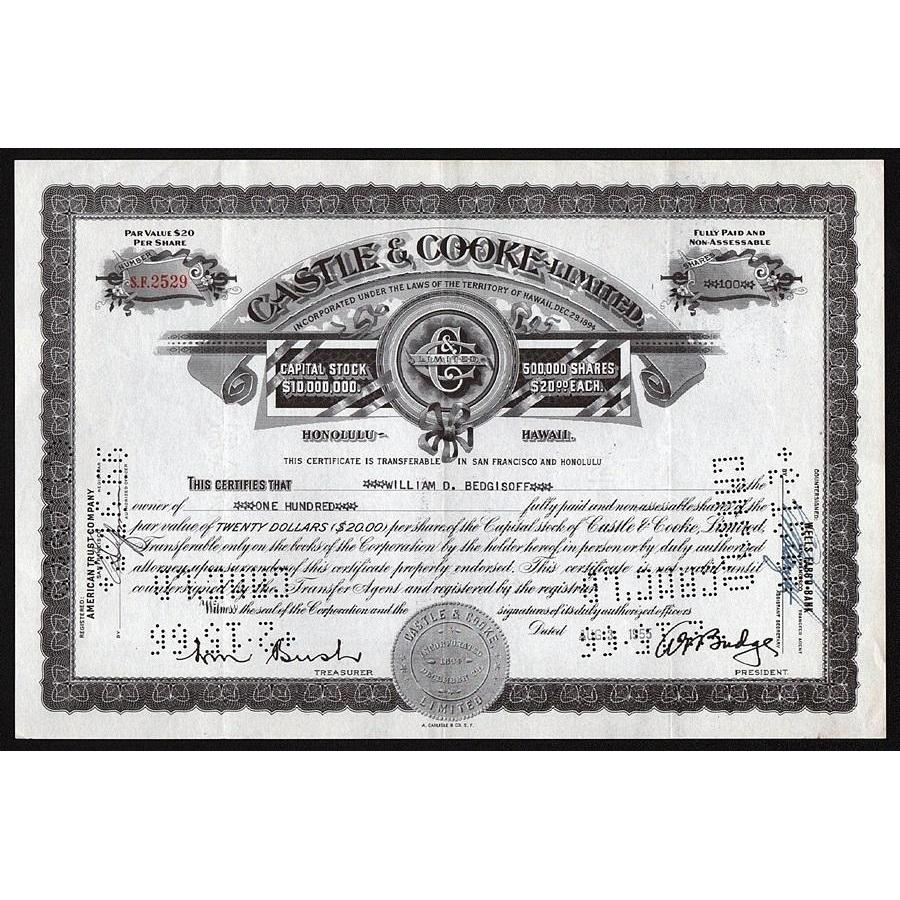 Castle & Cooke Limited (Honolulu, Hawaii) Stock Certificate