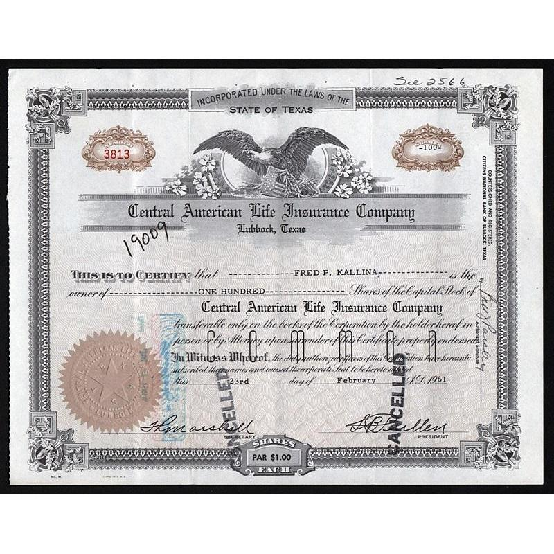 Central American Life Insurance Company (Lubbock, Texas) Stock Certificate