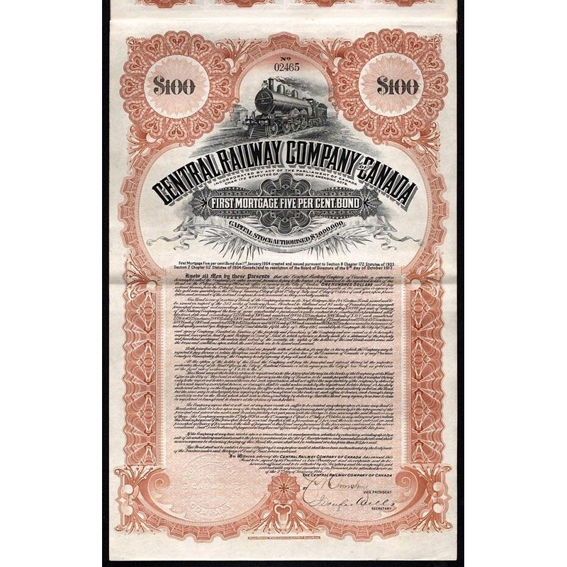 Central Railway Company of Canada Stock Certificate
