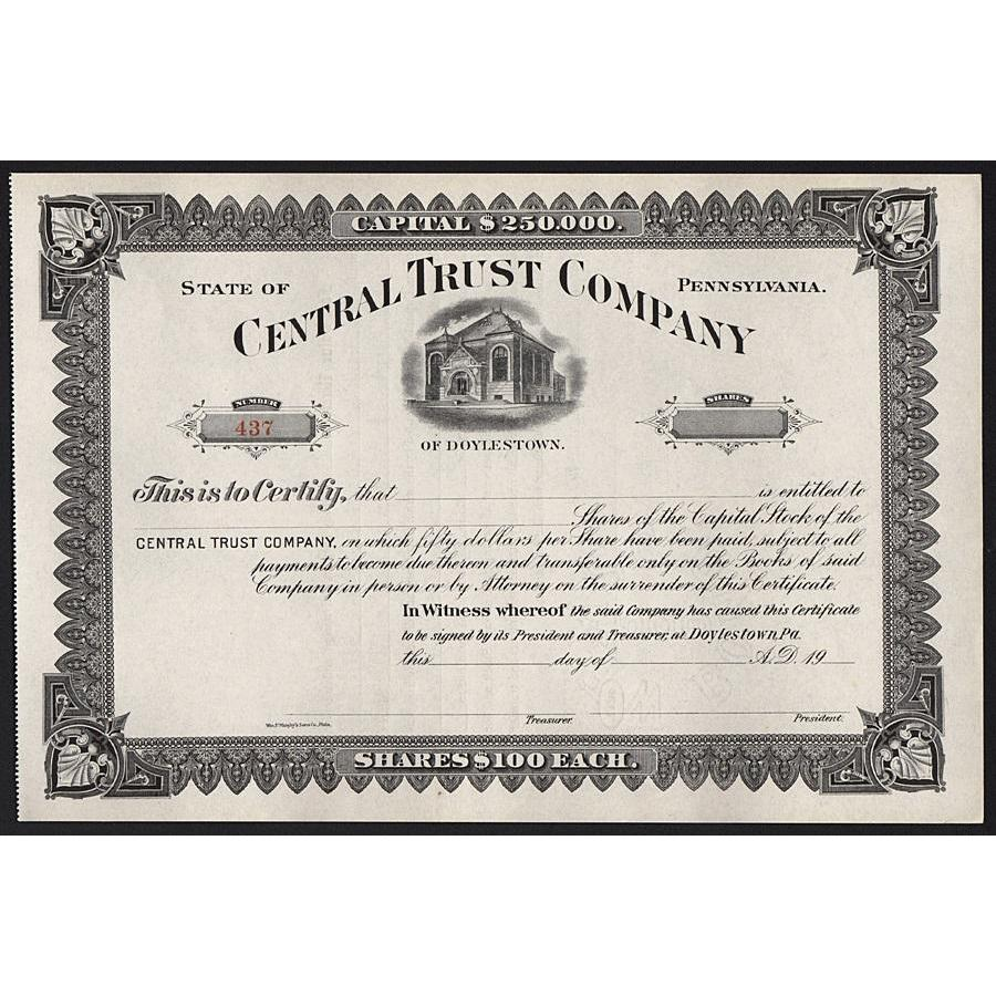 Central Trust Company Stock Certificate