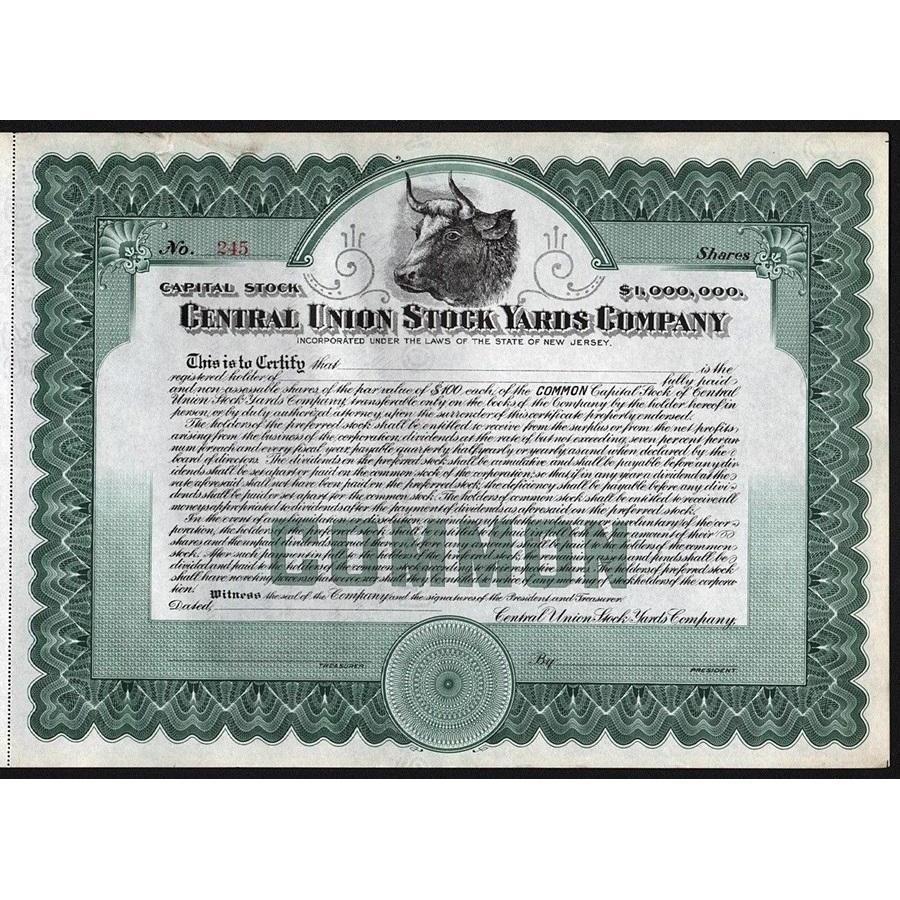 Central Union Stock Yards Company Stock Certificate