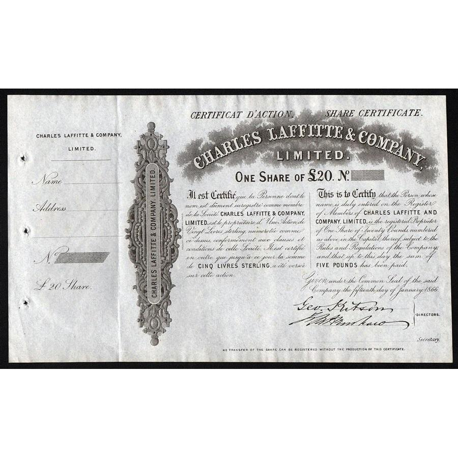 Charles Laffitte & Company, Limited Stock Certificate