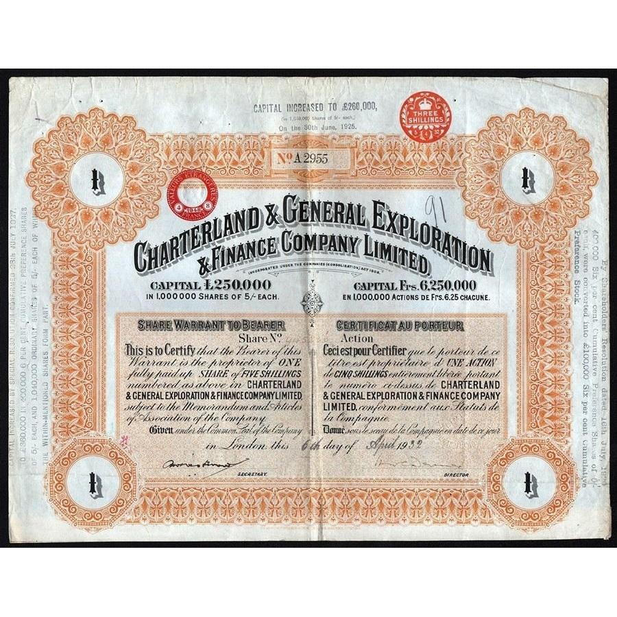 Charterland & General Exploration & Finance Company Limited Stock Certificate
