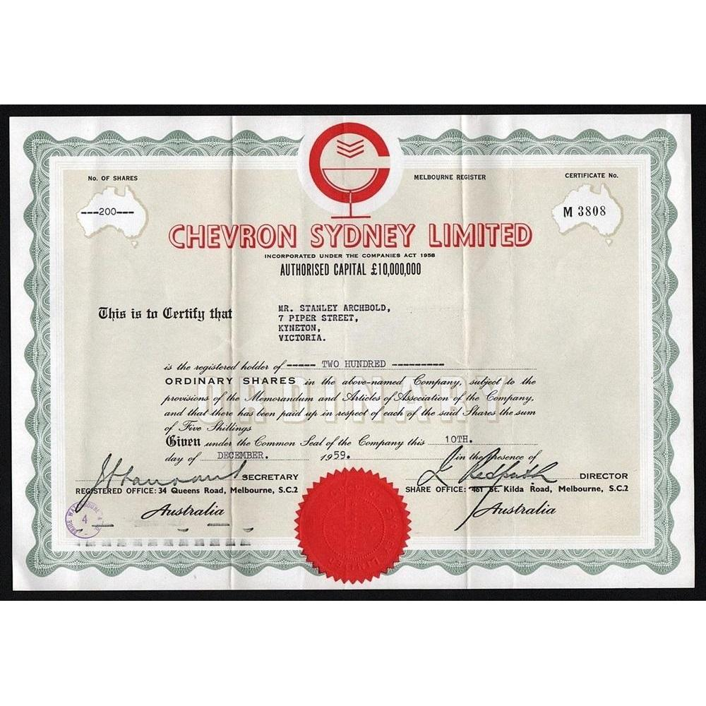 Chevron Sydney Limited (Melbourne Register) Stock Certificate