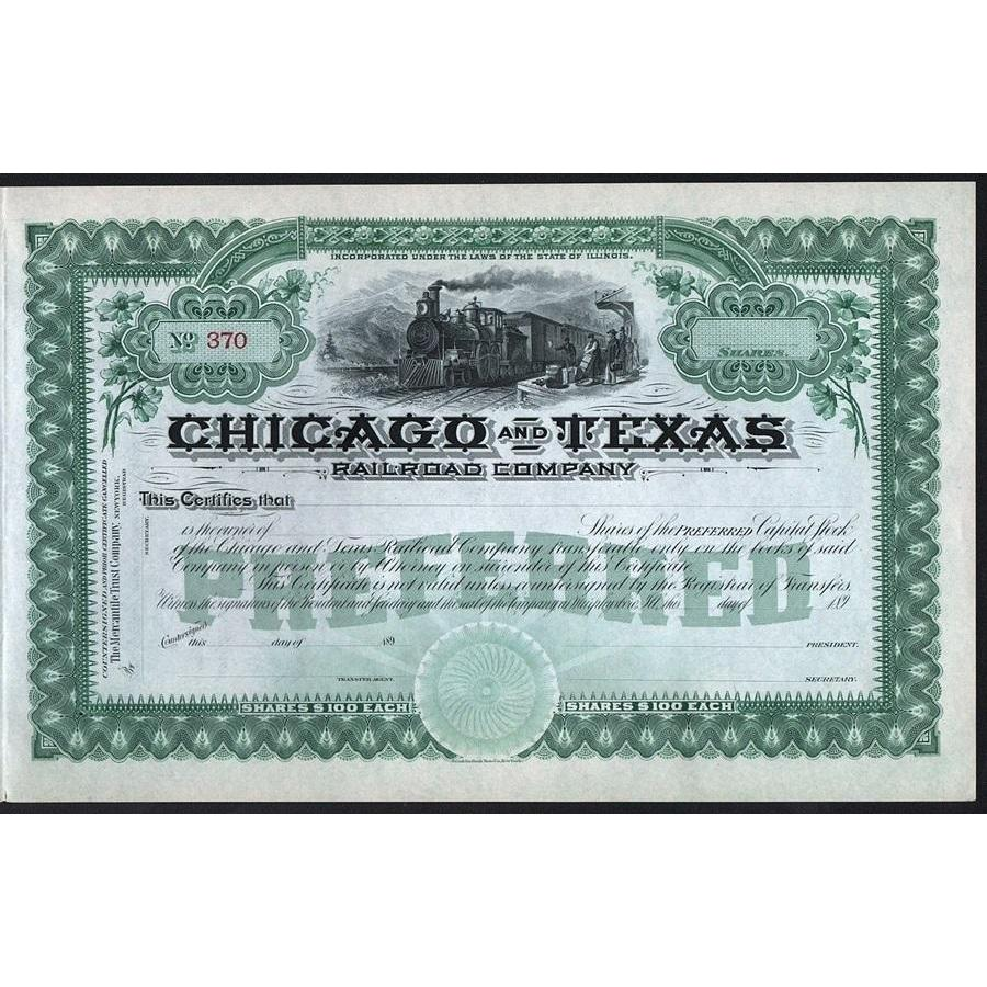 Chicago and Texas Railroad Company Stock Certificate