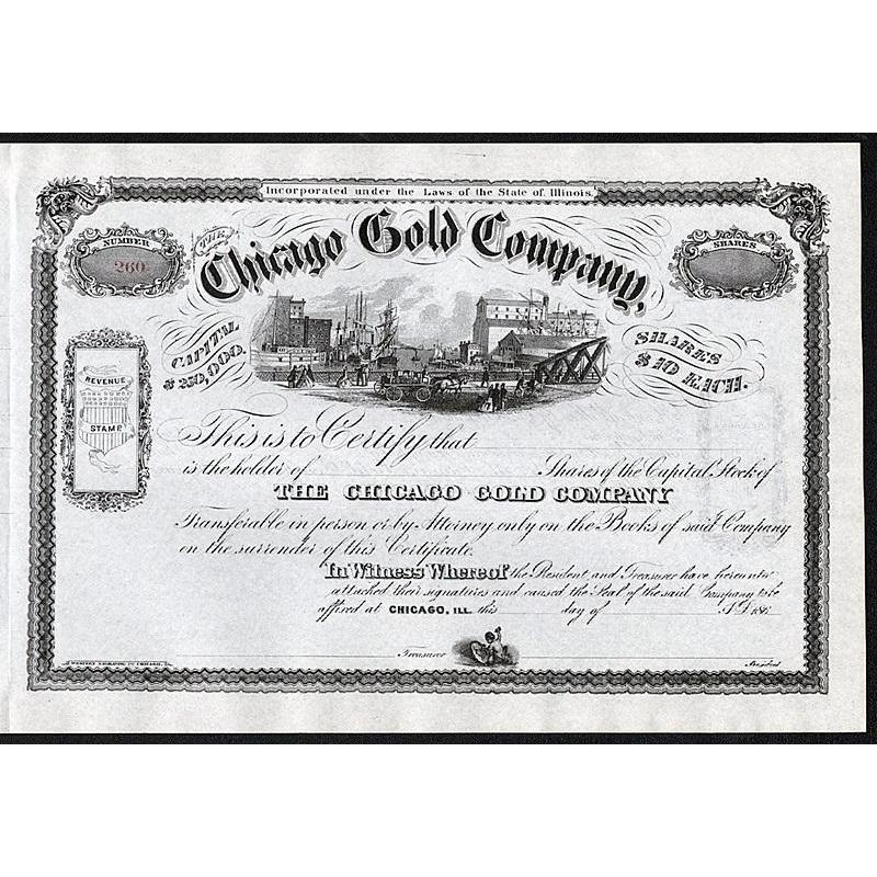 Chicago Gold Company Stock Certificate