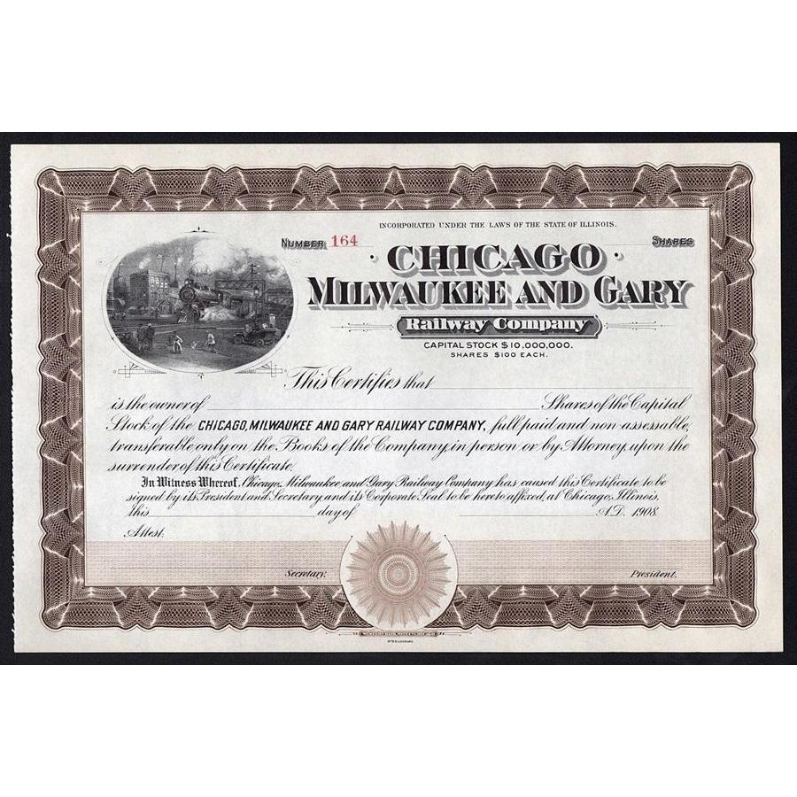 Chicago, Milwaukee and Gary Railway Company Stock Certificate