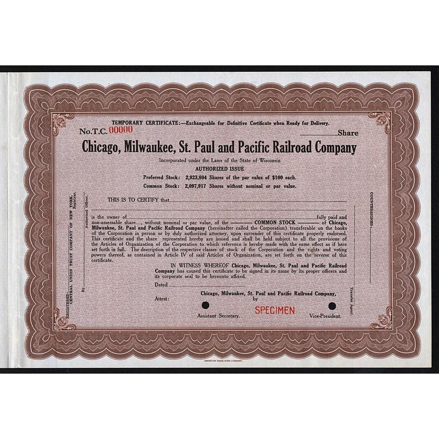 Chicago, Milwaukee, St. Paul and Pacific Railroad Company (Specimen) Stock Certificate
