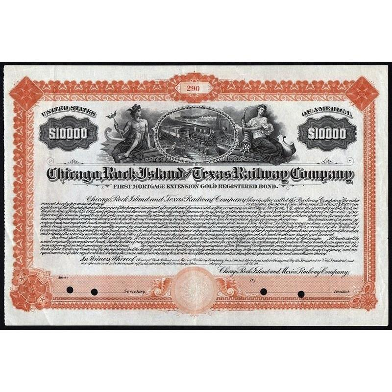 Chicago, Rock Island and Texas Railway Company Stock Certificate