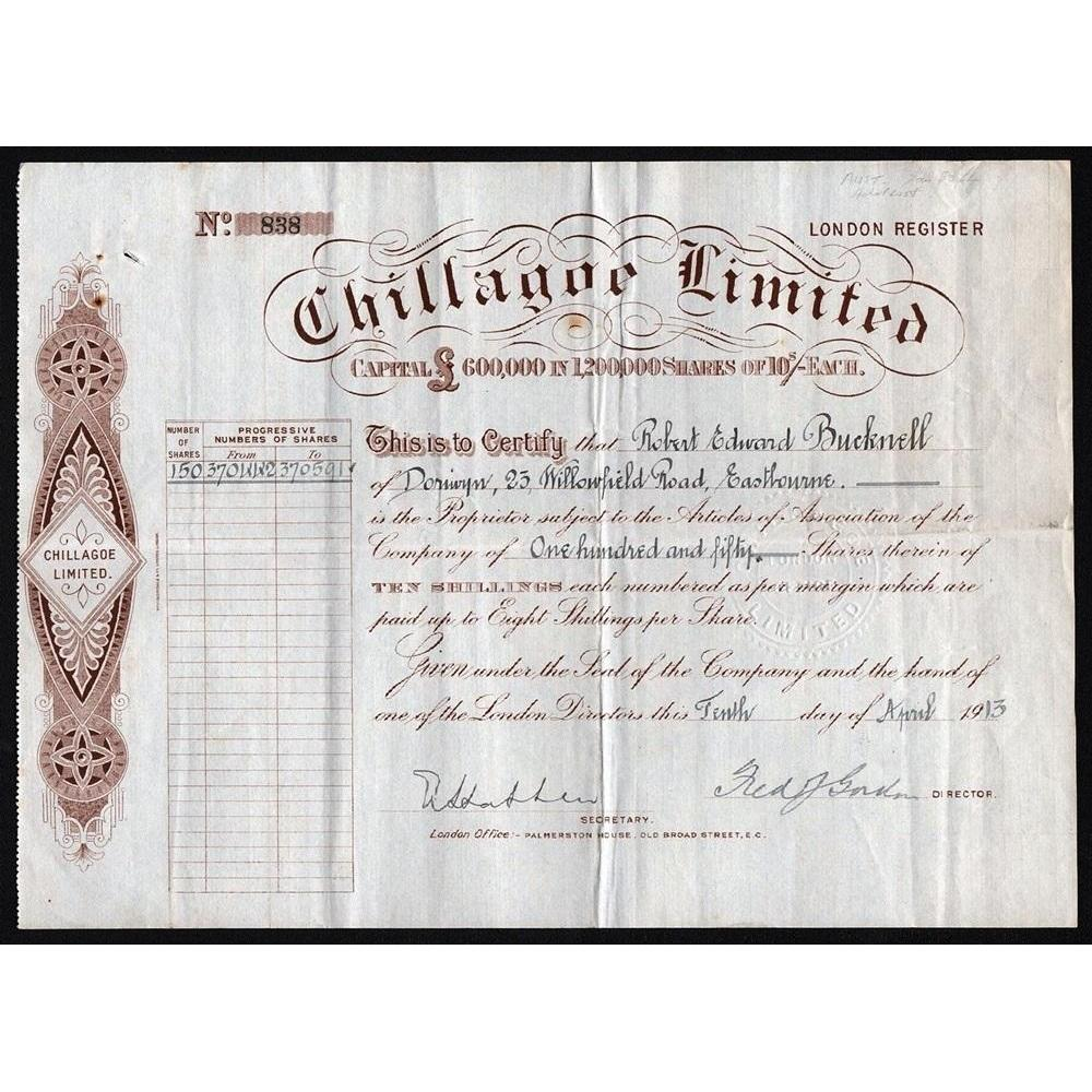 Chillagoe Limited Stock Certificate