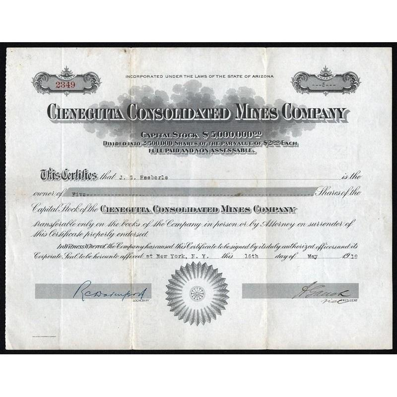 Cieneguita Consolidated Mines Company Stock Certificate