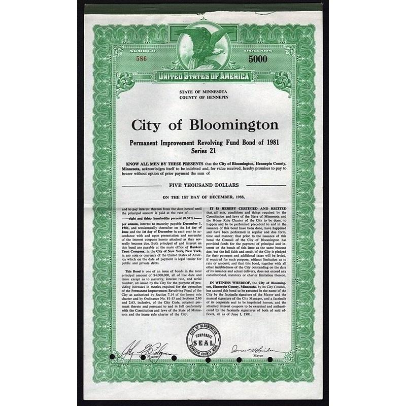 City of Bloomington, County of Hennepin, State of Minnesota Stock Certificate