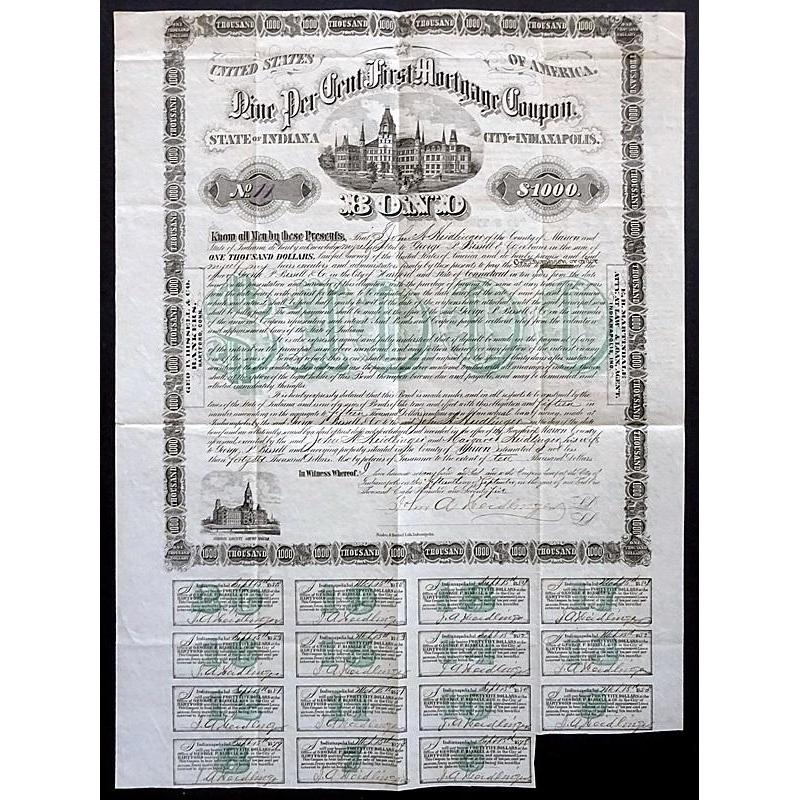 City of Indianapolis, State of Indiana: Nine Per Cent First Mortgage Coupon Stock Certificate