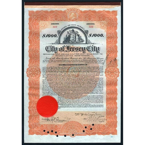 City of Jersey City, $1000 Gold Bond Stock Certificate