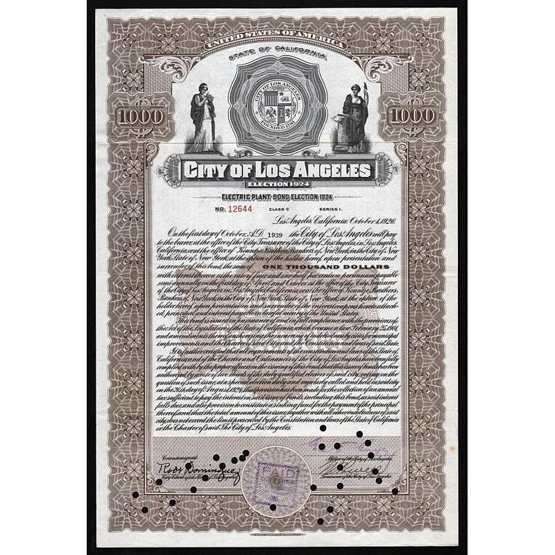 City of Los Angeles, Electric Plant Bond, Election 1924 Stock Certificate