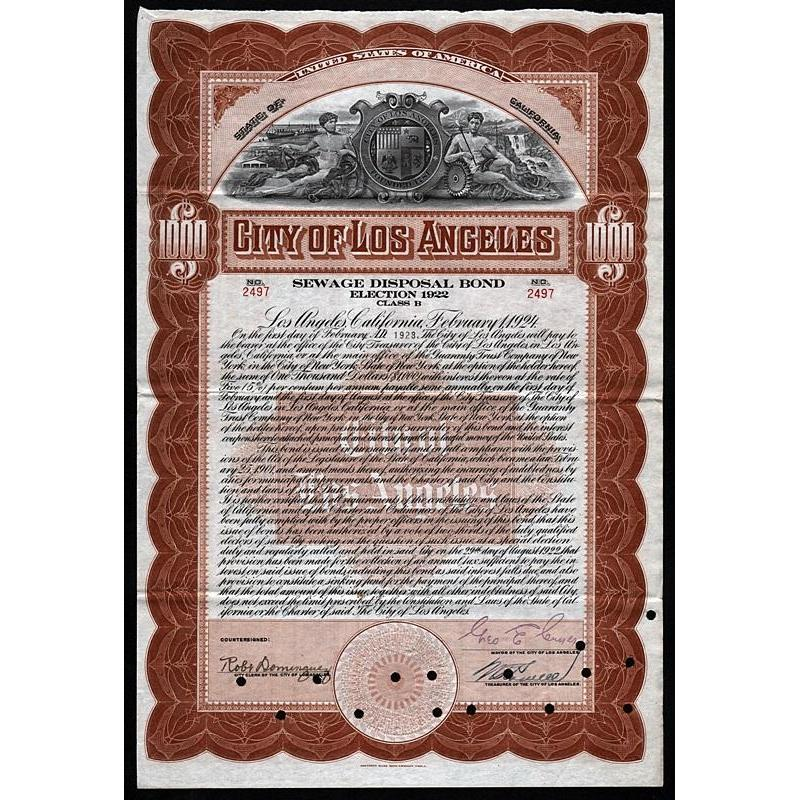 City of Los Angeles, Sewage Disposal Bond, Election 1922 Stock Certificate