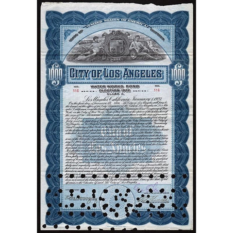 City of Los Angeles, Water Works Bond, Election 1922 Stock Certificate