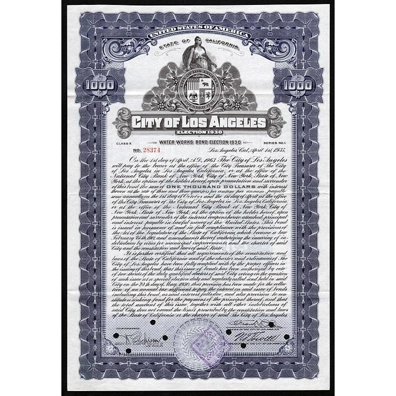 City of Los Angeles, Water Works Bond, Election 1930 Stock Certificate