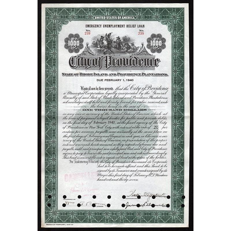 City of Providence, Rhode Island - Emergency Unemployment Relief Loan Stock Certificate
