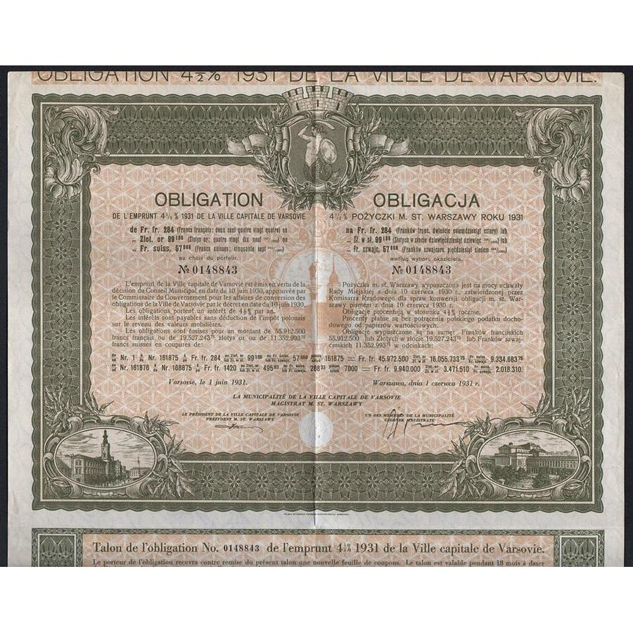 City of Warsaw, 4½% Obligation of 1931 Stock Certificate