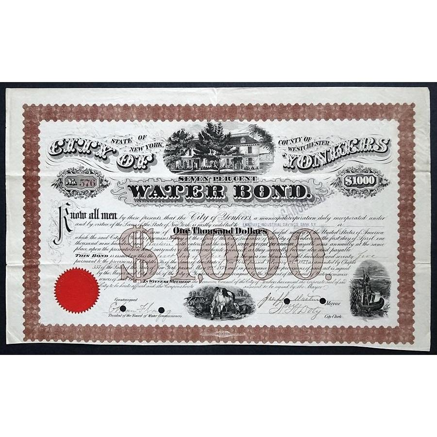 City of Yonkers Water 1875 New York Bond Certificate