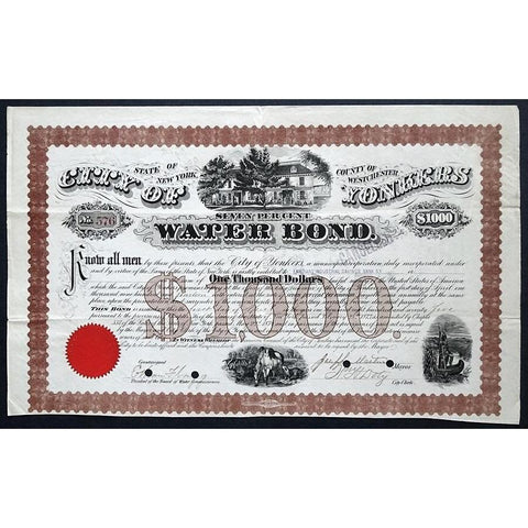 City of Yonkers Water Bond Stock Certificate