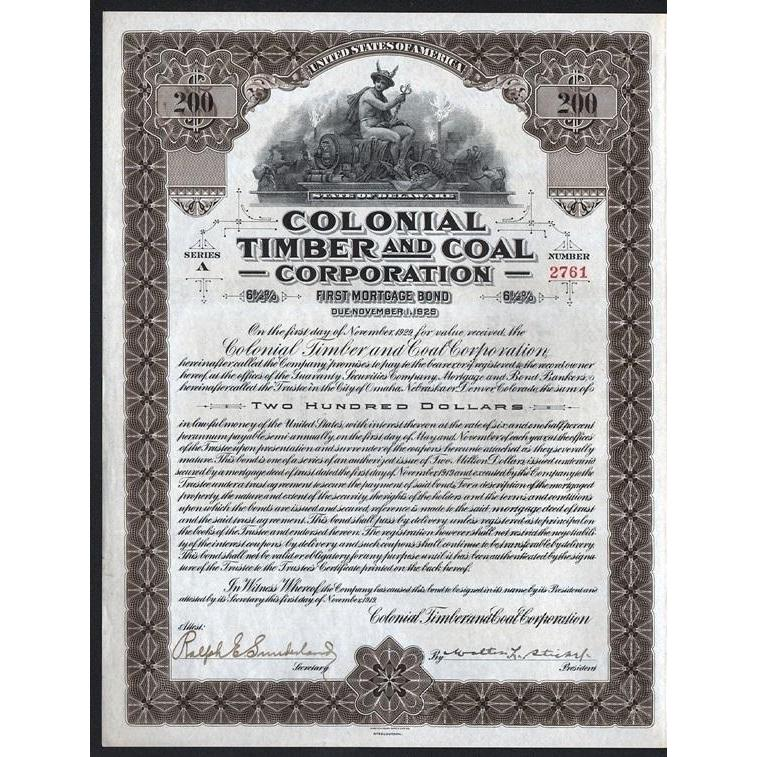 Colonial Timber and Coal Corporation Stock Certificate