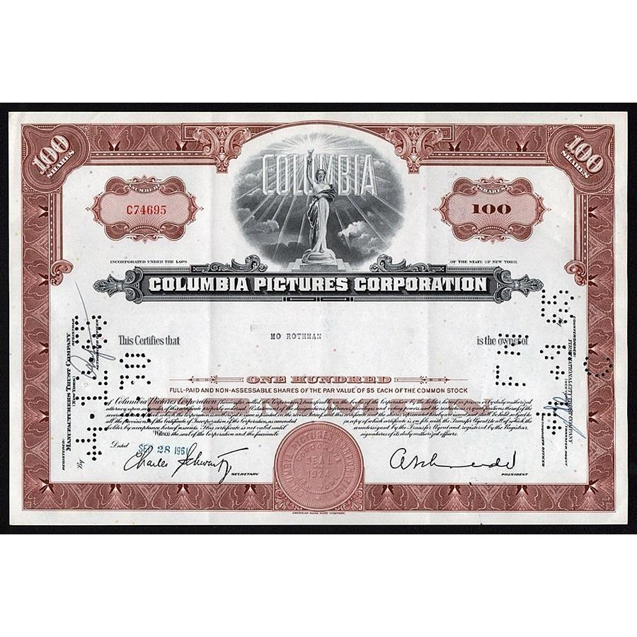 Columbia Pictures Corporation Stock Certificate