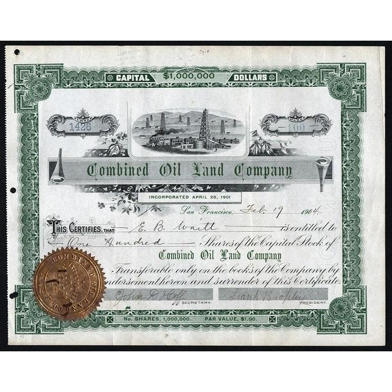 Combined Oil Land Company Stock Certificate
