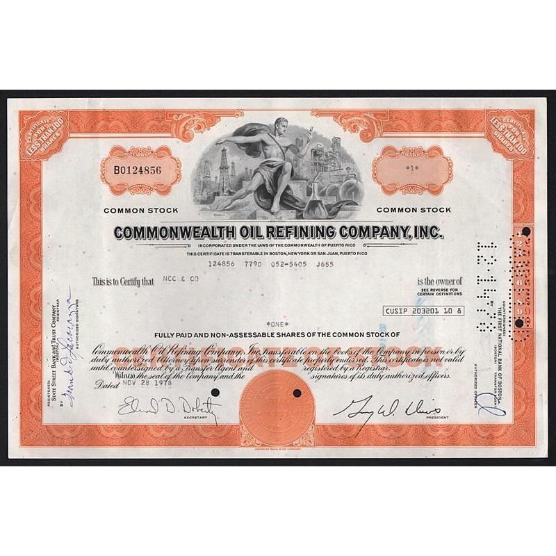 Commonwealth Oil Refining Company, Inc. (Puerto Rico) Stock Certificate