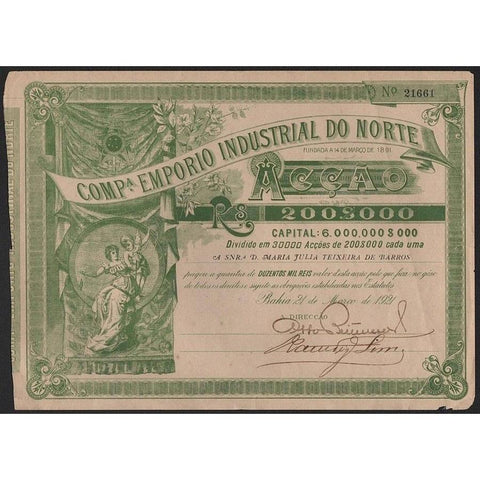 Compa. Emporio Industrial do Norte Stock Certificate