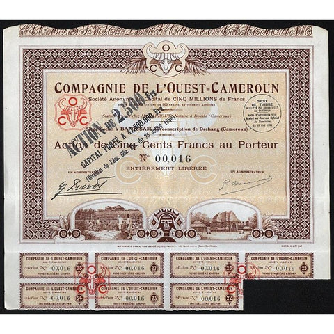Compagnie de l'Ouest-Cameroun Societe Anonyme Stock Certificate