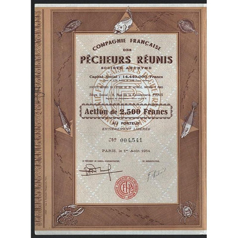 Compagnie Franaise des Pecheurs Reunis Societe Anonyme Stock Certificate