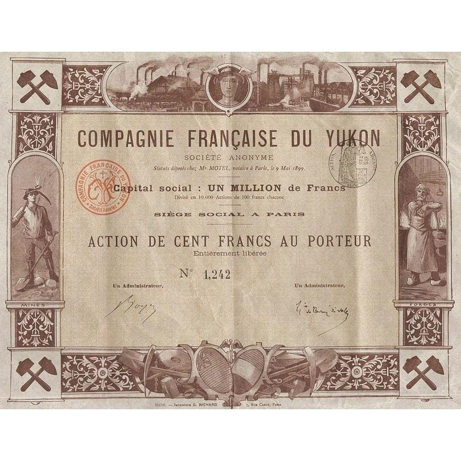 Compagnie Francaise du Yukon Societe Anonyme Stock Certificate