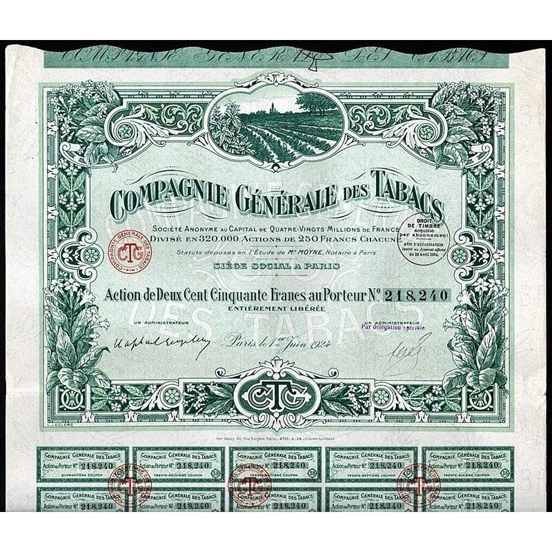 Compagnie Generale des Tabacs Stock Certificate