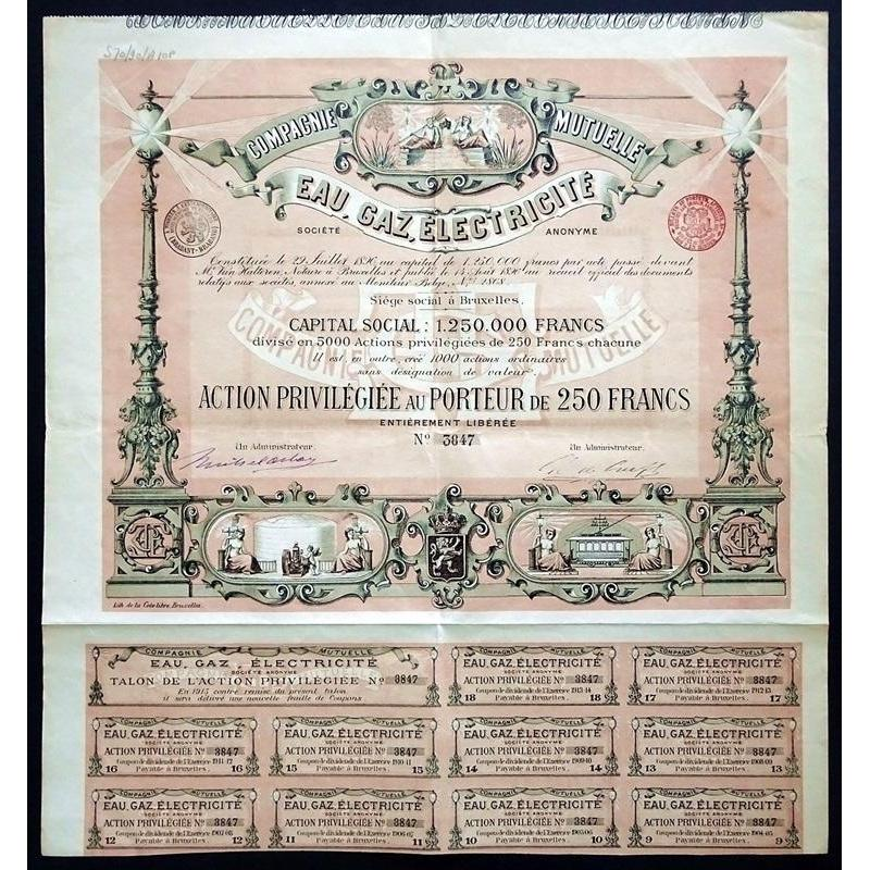 Compagnie Mutuelle Eau, Gaz, Electricite Societe Anonyme Stock Certificate