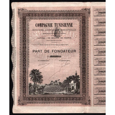 Compagnie Tunisienne Fonciere, Agricole & Industrielle Stock Certificate