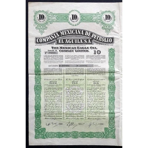 "Compania Mexicana de Petroleo ""El Aguila"", S.A. - The Mexican Eagle Oil Company Limited Stock Certificate"