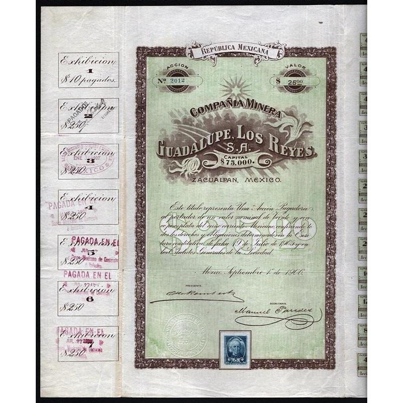 Compania Minera Guadalupe, Los Reyes S.A. (Zacualpan, Mexico) Stock Certificate