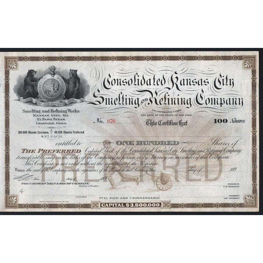 Consolidated Kansas City Smelting and Refining Company Stock Certificate