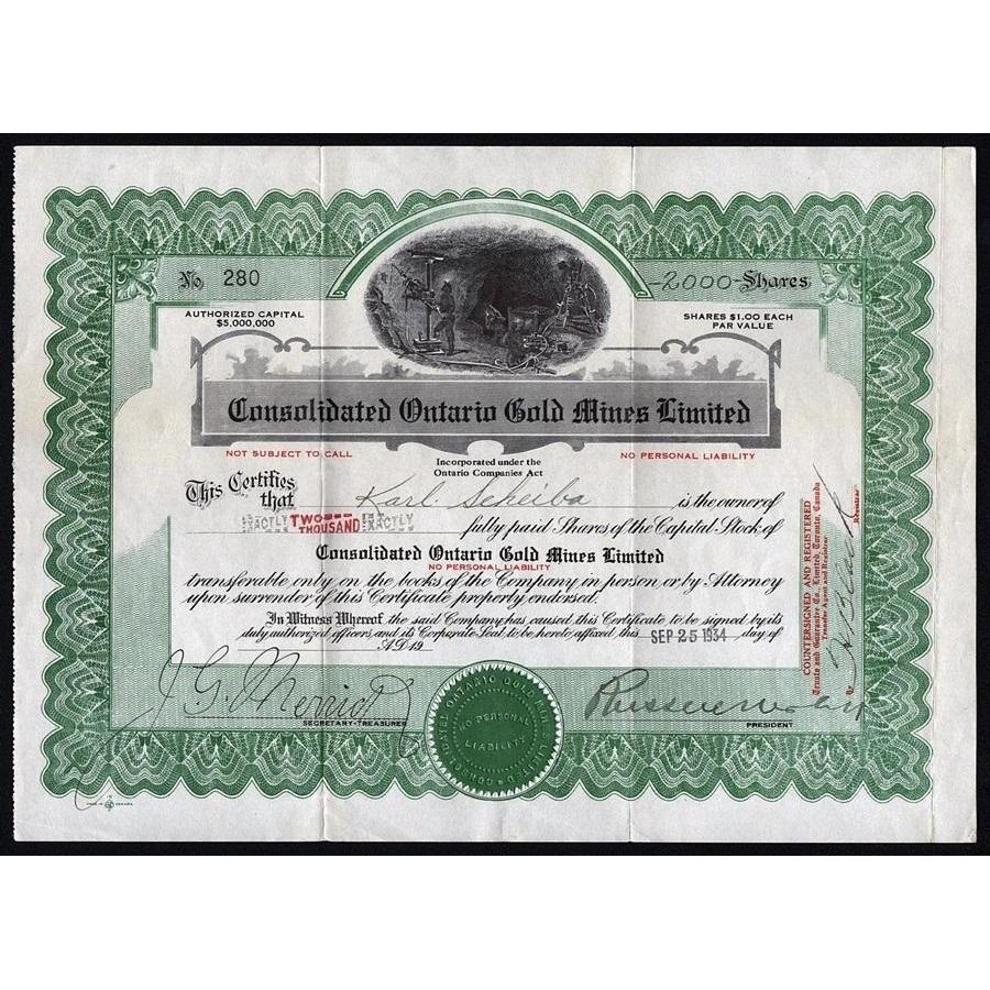 Consolidated Ontario Gold Mines Limited Stock Certificate
