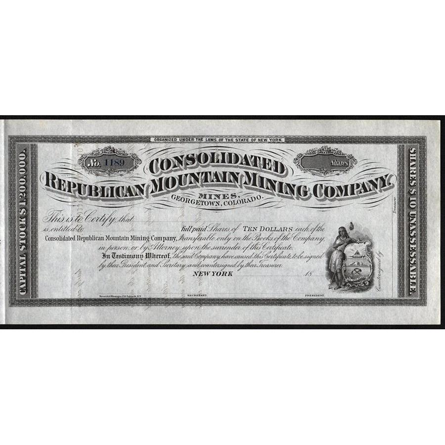 Consolidated Republican Mountain Mining Company (Mines, Georgetown, Colorado) Stock Certificate