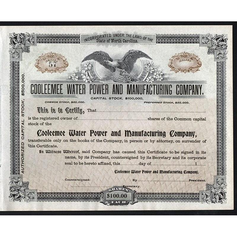 Cooleemee Water Power and Manufacturing Company Stock Certificate