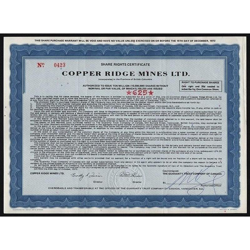 Copper Ridge Mines Ltd. Stock Certificate