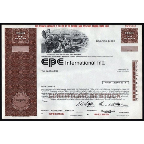 CPC International Inc. (Specimen) Stock Certificate