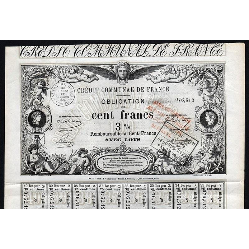 Credit Communal de France Stock Certificate