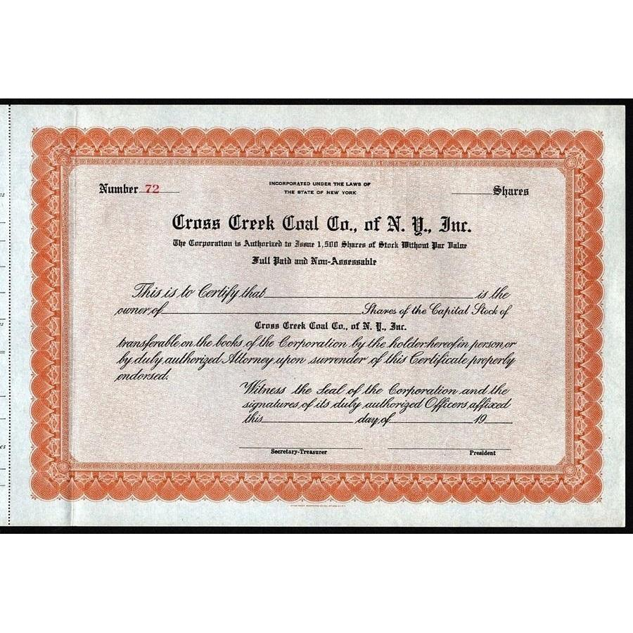 Cross Creek Coal Co., of N.Y., Inc. Stock Certificate