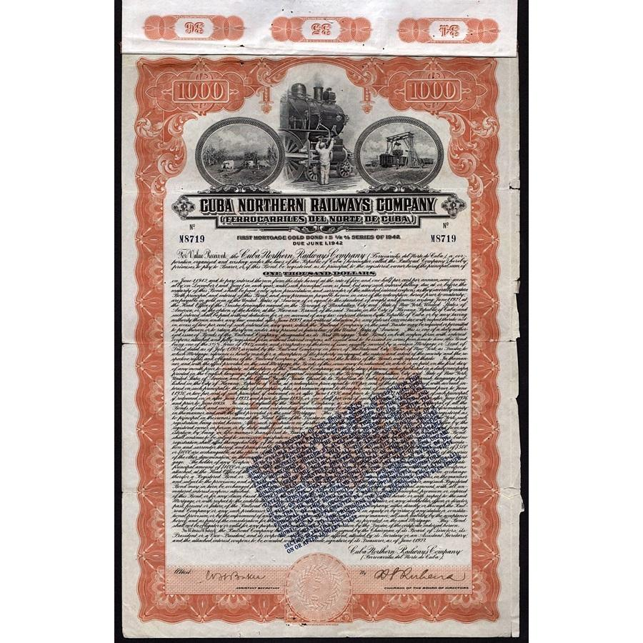 Cuba Northern Railways Company - Ferrocarriles Del Norte De Cuba (Gold Bond) Stock Certificate